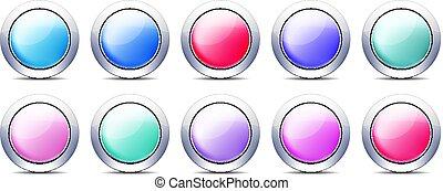 פסטל, קבע, כפתורים, צבע, מתכת, גבול, איקון