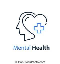 פסיכיאטריה, בריאות מנטלית, ראש אנושי, מושג, עזור, פסיכולוגי