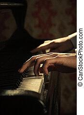פסנתר, פסנתרן, מוסיקה, לשחק, ידיים