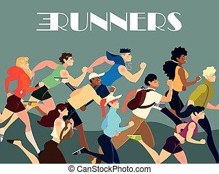 פעילות, להתאמן, סגנון חיים, אותיות, אנשים, רצים, שונה