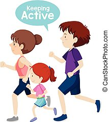 פעיל, לרוץ, רקע לבן, משפחה