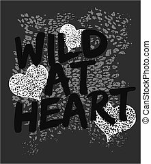 פראי, לב, גרפי, הדפס, בעל חיים
