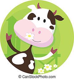 פרה, אופי, שמח, -, בעל חיים של חוה