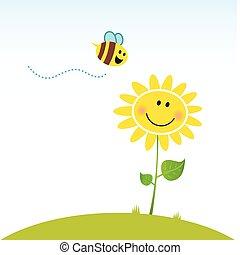 פרוח, שמח, קפוץ, דבורה
