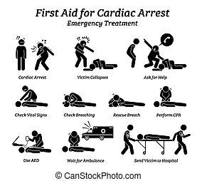 פרוצדורות, טיפול, עזור, תשובה, הדבק דמות, icons., עצור, חירום, של הלב, ראשון
