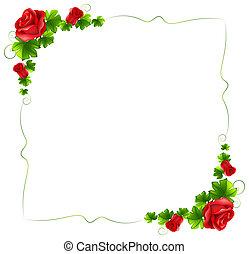פרחוני, ורדים, גבול, אדום