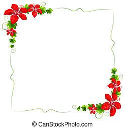 פרחוני, פרחים, גבול, אדום