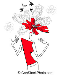 פרחים, אישה, אדום