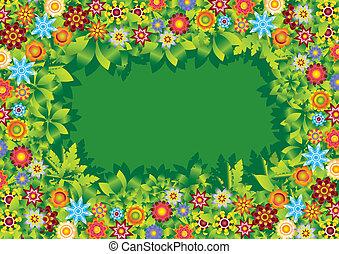 פרחים, הסגר, וקטור, גן