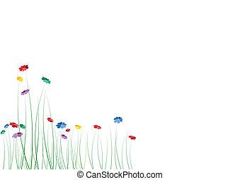 פרחים, לבבות, קפוץ, וקטור