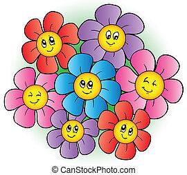 פרחים, קבץ, ציור היתולי