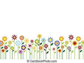 פרחים, קפוץ, וקטור