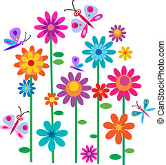 פרחים, תור אביב, פרפרים
