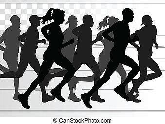 פרט, אישה, דוגמה, מרתון, פעיל, רצים, איש