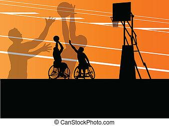 פרט, כדור סל, צללית, כיסא גלגלים, גברים, דוגמה, נכה, שחקנים, מושג, וקטור, רקע, פעיל, ספורט