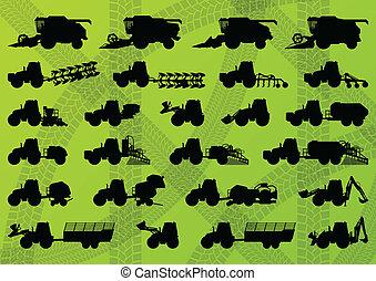 פרט, משלב, תעשיתי, משאיות, הארואסטארס, טרקטורים, דוגמה, ציוד, צלליות, וקטור, חופרים, אוסף, רקע, איכרות, חקלאות