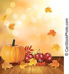 פרי, טרי, רקע, דוגמה, וקטור, אוכל., בריא, leaves., סתו