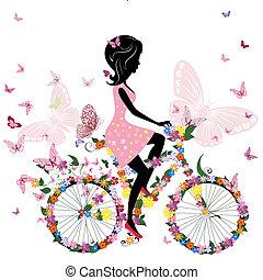 פרפרים, אופניים, רומנטי, ילדה
