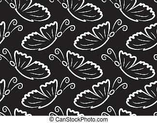 פרפרים, וקטור, pattern., seamless