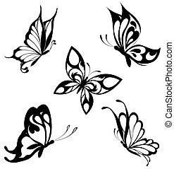 פרפרים, קבע, שחור, לבן, ט.ה.