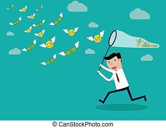 פרפר, לרוץ, כסף, איש עסקים