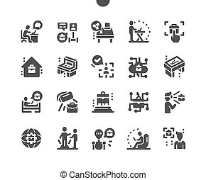 פשוט, רחוק, icons., זרימת עבודה, סולידי, אזור עבודה, בעצם, management., עתיד, המצאה, technology., וקטור, reality., telepresence, future., robot., עבודה, פיכטוגראם