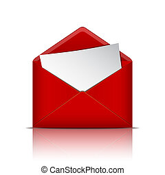 פתוח, נייר, מעטפה, אדום