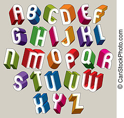 צבעוני, אלפבית, מכתבים, ממדי, וקטור, פונט, גיאומטרי, 3d