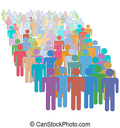 צבעוני, אנשים, דחוס, ביחד, הרבה, בלתי-דומה, גדול