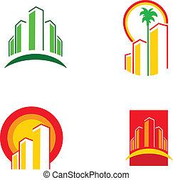 צבעוני, בנין, דוגמה, וקטור, -1, איקונים