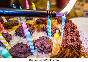 צבעוני, עוגה, נרות, יום הולדת, תאורה