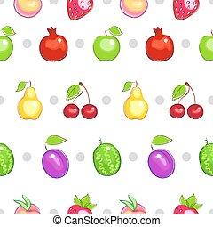 צבעוני, תבנית, fruit., seamless, רקע., וקטור