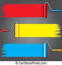 צבעים, wall., צבע, וקטור, שונה, מוטי גלילי