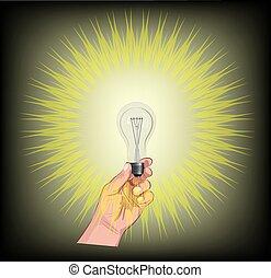 צבע, אור, להשרף, דמות, להחזיק יד, נורת חשמל