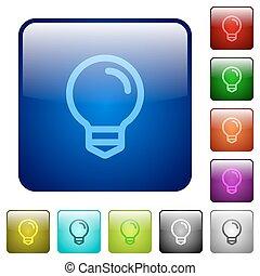 צבע, אור, ריבוע, נורת חשמל, כפתורים