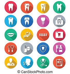 צבע, דירה, של השיניים, איקונים