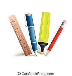 צבע, כלים, אוסף, לכתוב