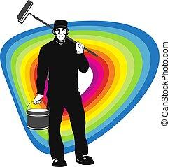 צבע מוט גלילי, צייר