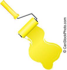 צבע צהוב, וקטור, דוגמה, מוט גלילי, צחצח