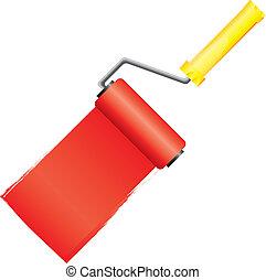 צבע צהוב, וקטור, צחצח, דוגמה, צבע, מוט גלילי, אדום