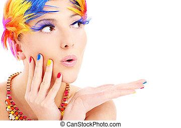 צבע, שיערות, פנים של אישה