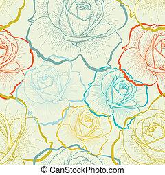 צבע, תבנית, seamless, העבר, ורדים, ציור