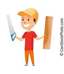 צהוב, builder., הנדס, job., helmet., עלה, צחק, דיר, לעשות, עבד, קבלן, בניה, שיתוף פעולה, לעבוד, מצחיק, ראה, עובד, קטן, בנה, ילדים