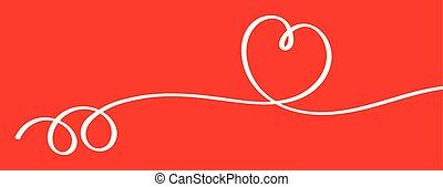 צורה של לב, וקטור, רקע אדום, סרט