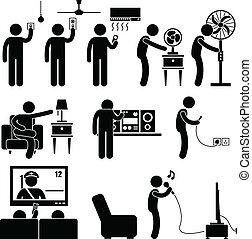 ציוד, בית, איש, מכשירים, להשתמש