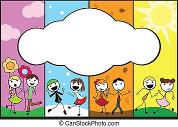 ציור היתולי, ארבעה, הדבק, רקע, עונות, ילדים