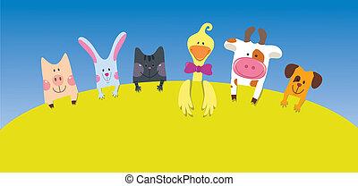 ציור היתולי, בעלי חיים, כרטיס, חוה