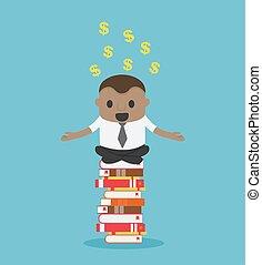 ציור היתולי, זהיר, מושג, אפריקני, לגוז, דוגמה, יכול, לקרוא, כסף, אותו, ספרים, עשה, לשבת, איש עסקים, מצליח, הוא
