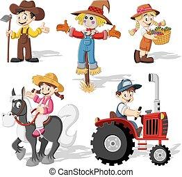 ציור היתולי, חקלאים, לעבוד