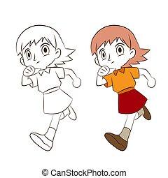 ציור היתולי, לרוץ, ילדה, לבן, רקע.